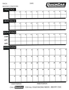 QUICKCAR RACING PRODUCTS Timing/Lap Scoring Chart 50 pc P/N 51-230