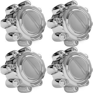 4x Chrome Center Caps Wheel Lug Nut Hub Cap Covers for 1999-2005 Ford F350 (SRW)