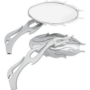 Drag Specialties 0640-0484 Flame Oval Mirror - Chrome Finish