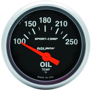 "AutoMeter 3347 Sport-Comp Electric Oil Temperature Gauge 2 1/16"" 100-250 Deg. F"