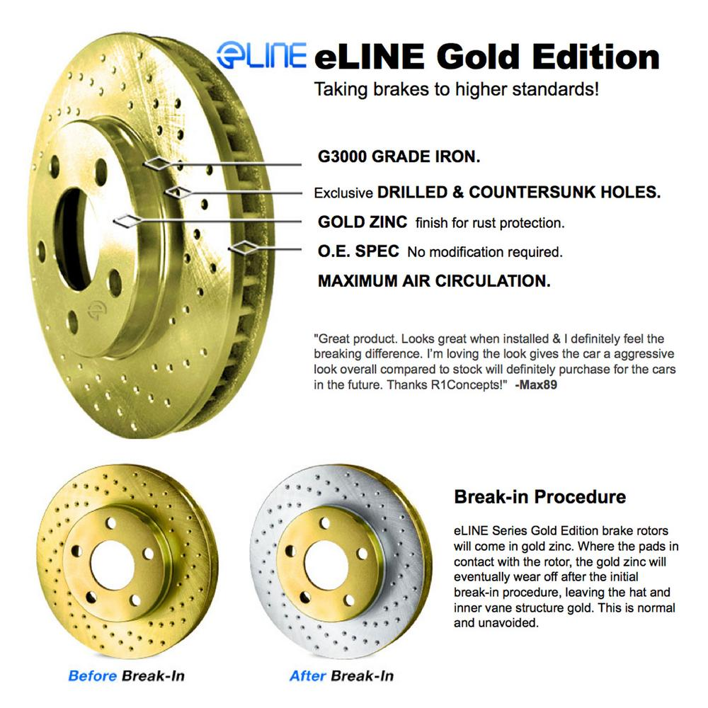 For 2010-2011 Mercedes-Benz E550 Front Gold Drilled Brake Rotors+Ceramic Pads