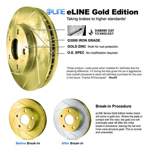 For 2011-2012 Ford Fiesta Front eLine Gold Slotted Brake Rotors+Ceramic Pads