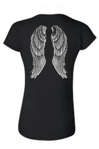 Women's Juniors Biker Angel Wings Black T-shirt (XL)