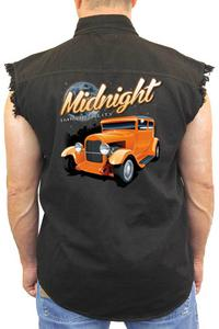Men's Sleeveless Denim Shirt Midnight Immortality: BLACK (4XL)