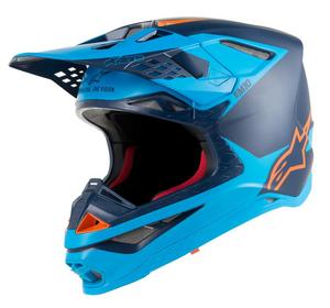 Alpinestars Supertech S-M10 Meta Helmet Black/Aqua/Orange Fluo (Blue, XX-Large)