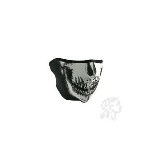 Zan Headgear Half Face Mask Skull (White, Oversize)