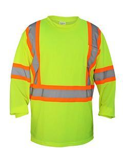 SAS Safety Hi-Viz Class 2 Long Sleeve T-Shirt, Yellow, X-Large (SAS-690-1610)