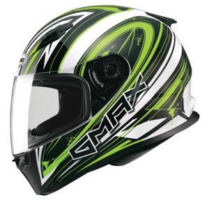 G-Max FF49 Warp Helmet Warp White/Hi-Viz Green (Green, Large)