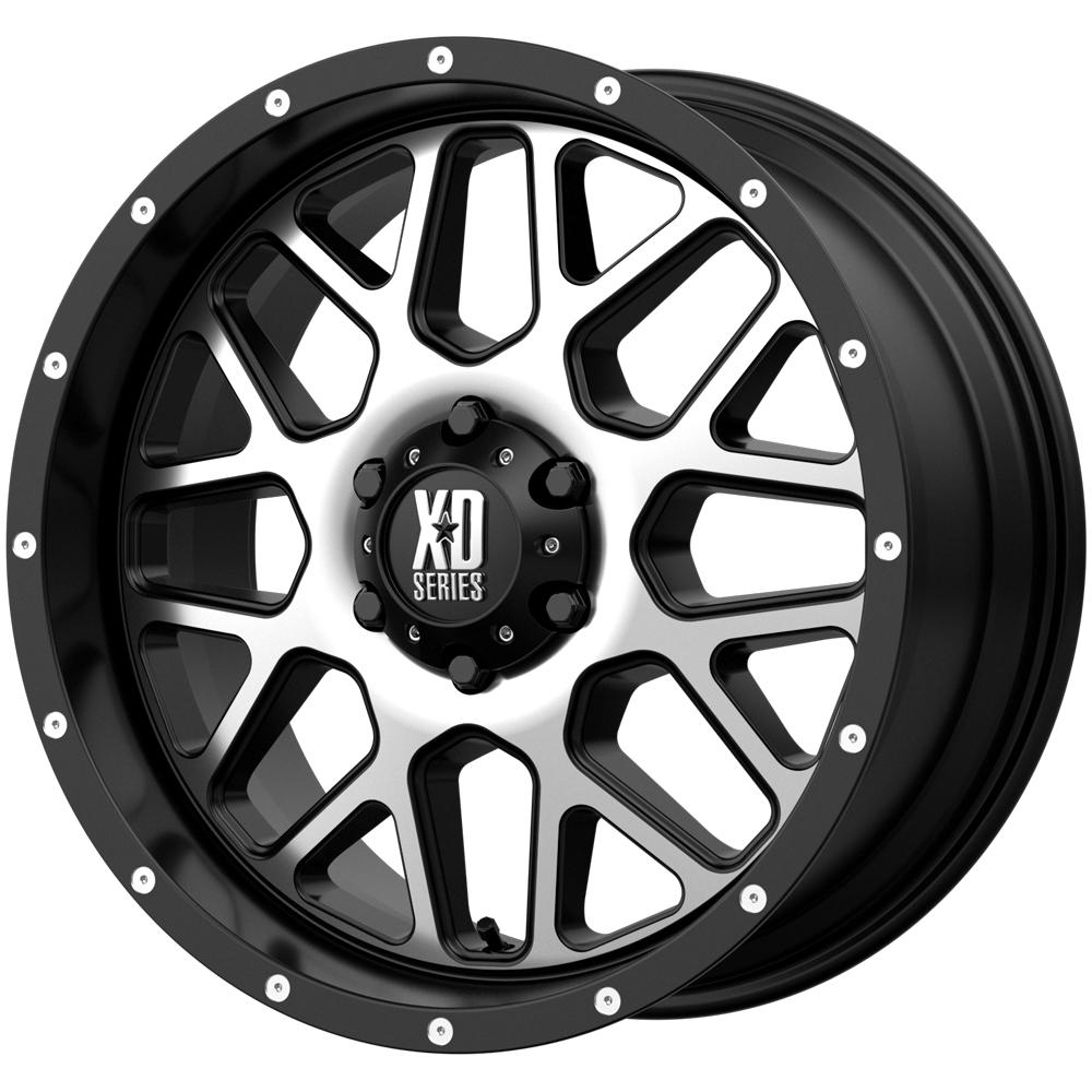 "XD Series XD820 Grenade 20x9 8x170 +18mm Black/Machined Wheel Rim 20"" Inch"