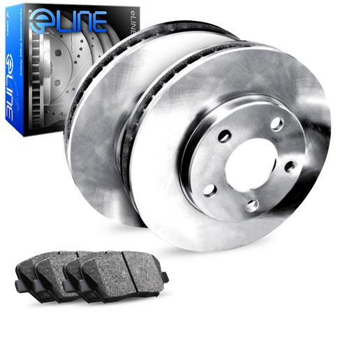 For 2006-2007 Volkswagen Jetta Rear eLine Plain Brake Rotors+Ceramic Brake Pads