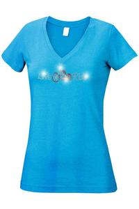 Women's Juniors V-Neck T Shirt Rhinestones Angel Wings Biker Live & Ride Graphic Tee: Heather Turquoise (Medium)
