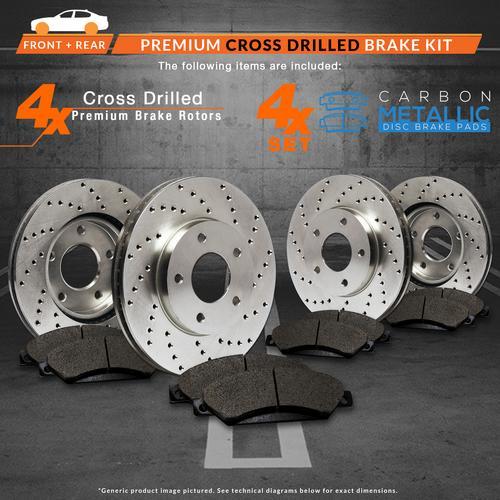 TA186923-1 Max Brakes Front /& Rear Premium XD Rotors and Metallic Pads Brake Kit
