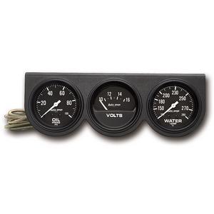 AutoMeter 2398 Autogage Black Oil/Volt/Water Black Console