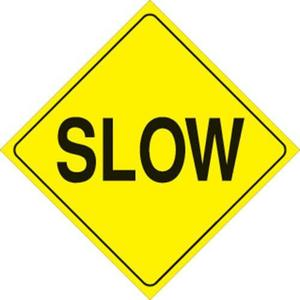 Voss 405 SLO YR 12x12in. Reflective Trail Sign - Slow (Yellow/Black)