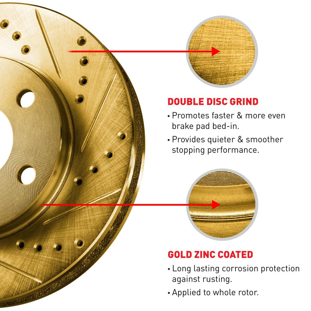 For Dodge Charger, Magnum Rear Gold Drill Slot Brake Rotors+Semi-Met Brake Pads