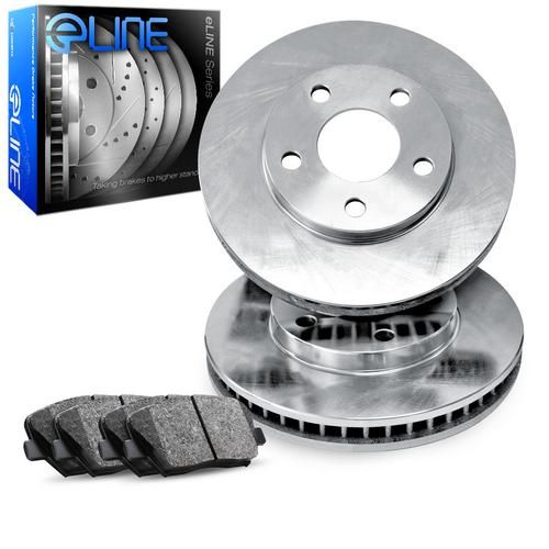 For 2000-2001 Ford Focus Front eLine Plain Brake Rotors + Ceramic Brake Pads