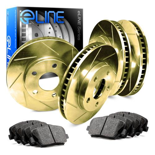 For 1998-2002 Honda Accord Front Rear Gold Slotted Brake Rotors+Ceramic Pads