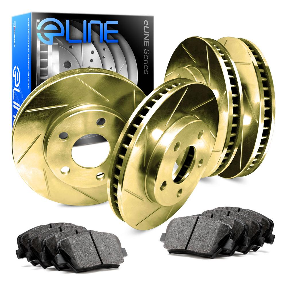 For 1988-1989 Toyota Camry Front Rear Gold Slotted Brake Rotors+Ceramic Pads