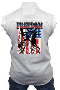 Men's Sleeveless Denim Shirt Freedom Statue of Liberty Biker Vest: WHITE (Large)