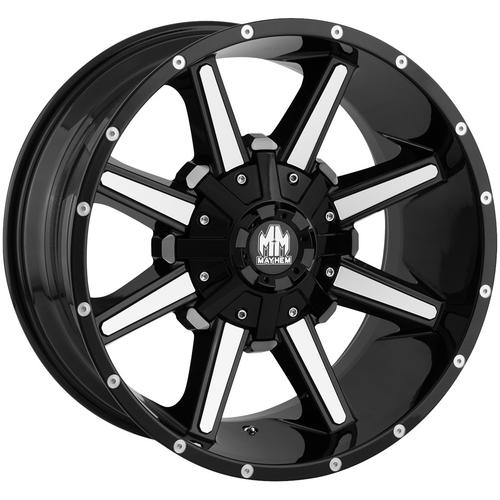 "4-Mayhem 8104 Arsenal 18x9 8x6.5""/8x170 -12mm Black/Machined Wheels Rims 18 Inch"