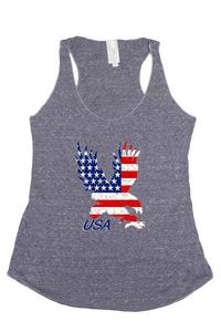 Women's USA Flag Tri-Blend Tank Top American Bald Eagle: DENIM (Medium)