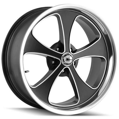 "Ridler 645 17x8 5x4.5"" +0mm Black/Machined Wheel Rim 17"" Inch"