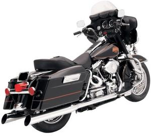 Bassani Manufacturing FLH-529 4in. Slip-On Mufflers with 2in. Standard Baffles - Slant Cut - Chrome