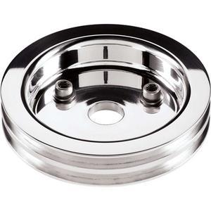 BILLET SPECIALTIES Polished 2 Groove V-Belt Short SBC Crank Pulley P/N 81220