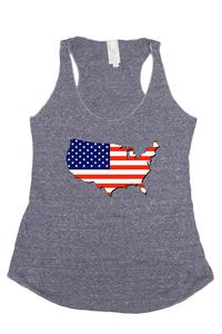 Women's USA Flag Tri-Blend Tank Top Country Love: DENIM (Medium)
