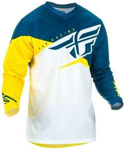 Fly Racing F-16 Youth Jersey Yellow/White/Navy (Yellow, X-Large)