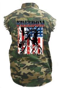 Men's Camo Sleeveless Denim Shirt American Flag Statue of Liberty Freedom Denim Vest: (4XL)