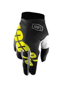 100% iTrack Gloves Black/Yellow (Black, Medium)