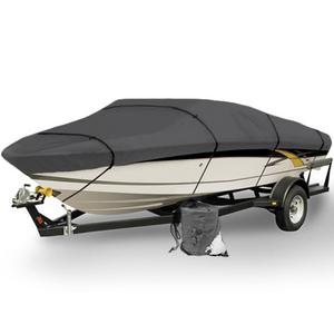 Gray Heavy Duty Waterproof Mooring Boat Cover Fits Length 20' 21' 22' Superior Trailerable Boat Covers 600 Denier V-Hull Fishing Ski Boat Runabout Pro Bass Inboard Outboard Boat Covers