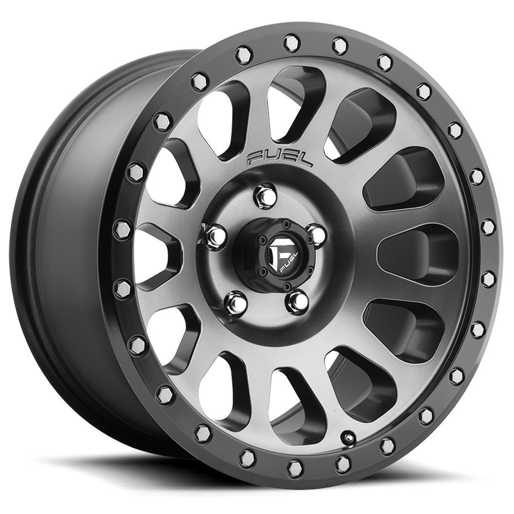 """4-Fuel D601 Vector 18x9 6x5.5"""" +1mm Gunmetal/Black Wheels Rims 18"""" Inch"""