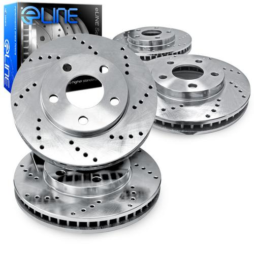 For 1999-2002 Jeep Grand Cherokee Front Rear eLine Drilled Brake Rotors