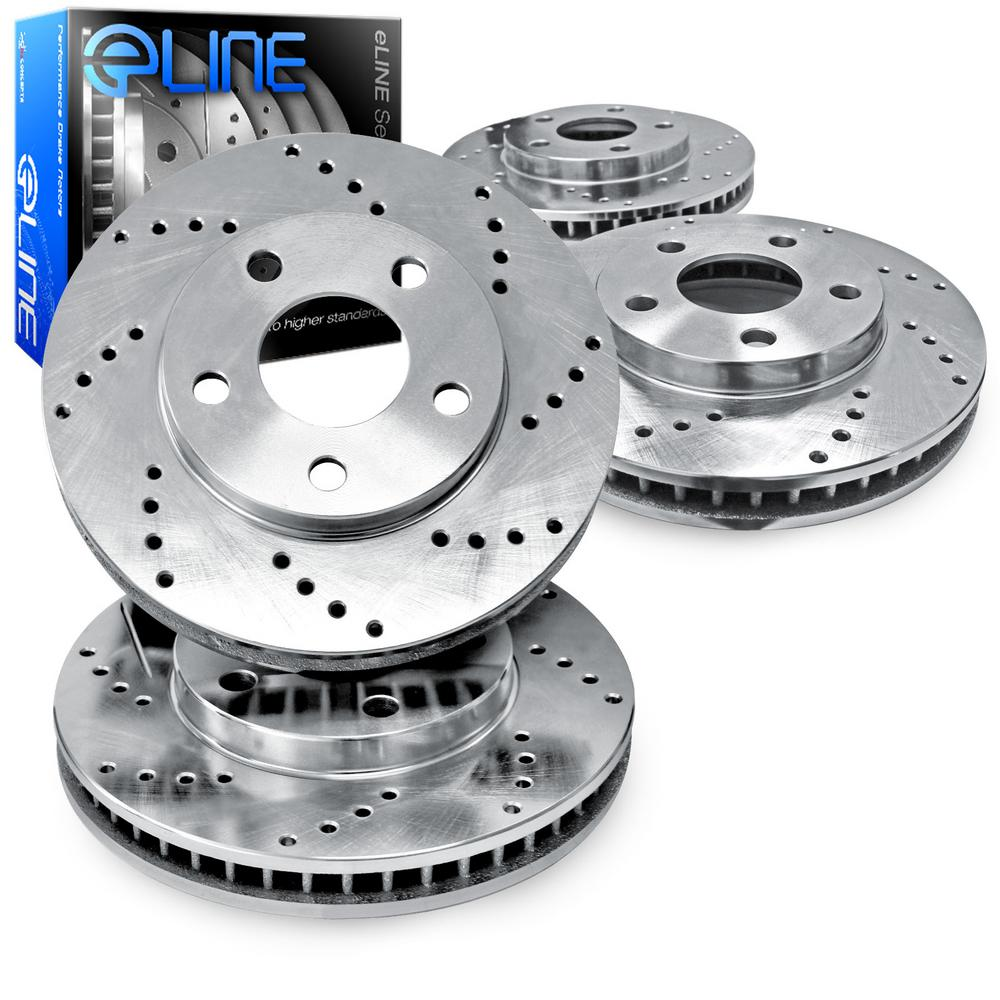 For 2004-2008 Chrysler Pacifica Front Rear eLine Drilled Brake Rotors