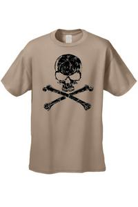 Men's/Unisex Biker Black Skull Head with Cross Bones  SAND Short Sleeve T-shirt (4XL)