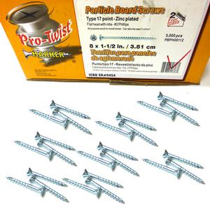 """Pro-Twist 8X1.5"""" Particle Board Screws with Nibs - Type 17 Point - Zinc Plated"""