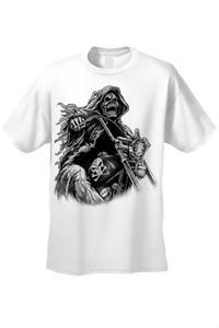 Men's/Unisex OVERSIZED Biker Grim Reaper Rider WHITE Short Sleeve T-shirt (XL)