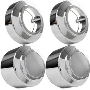 4x Chrome Center Caps Open and Closed Wheel Lug Nut Hub Cap Covers for 1995-2008 Ford E-250 Van