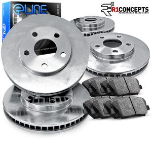 For 2009-2010 Kia Borrego Front Rear Black Drill Slot Brake Rotors+Ceramic Pads