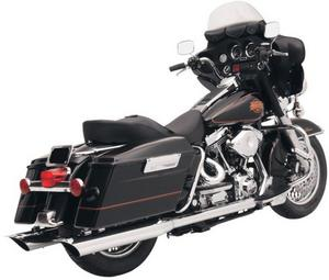 Bassani Manufacturing FLH-523SL 4in. Slip-On Mufflers with 2 1/2in. Performance Baffles - Scalloped Slash Cut - Chrome