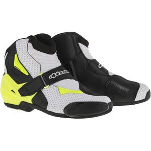 Alpinestars SMX-1R Vented Boots Vented Black/White/Yellow Flourescent (Black, 12.5)