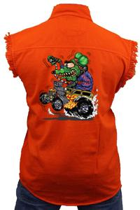 Men's Sleeveless Denim Shirt Crazy Hot Rod Rat Biker Vest: ORANGE (5XL)