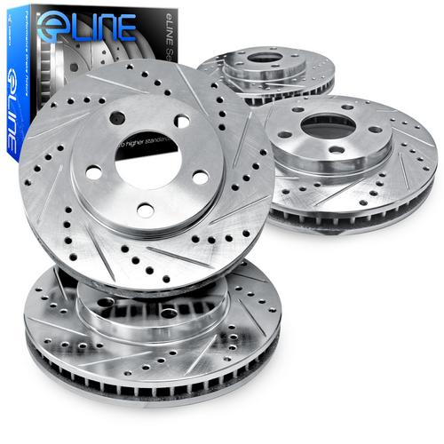 For 2000-2004 Ford F-350 Super Duty Front Rear eLine Drill Slot Brake Rotors