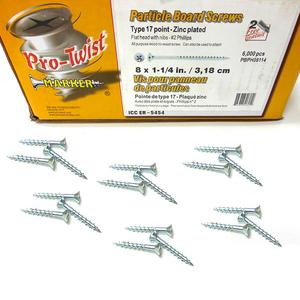 "150 Pro-Twist 8X1.25"" Particle Board Screws with Nibs - Type 17 Point"
