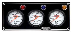 QUICKCAR RACING PRODUCTS White Face Gauge Panel Assembly P/N 61-6711