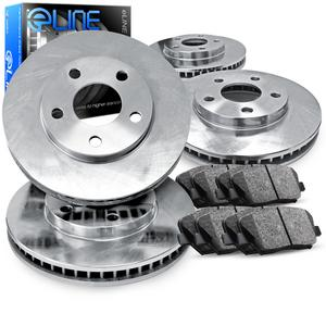 For 1997-2001 Honda Prelude Front Rear eLine Plain Brake Rotors+Ceramic Pads