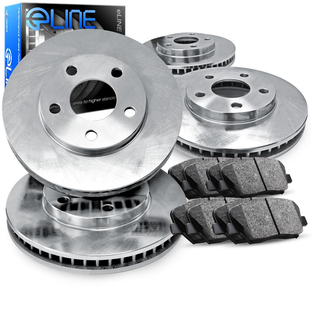 For 1993 Ford Taurus Front Rear eLine Plain Brake Rotors + Ceramic Brake Pads