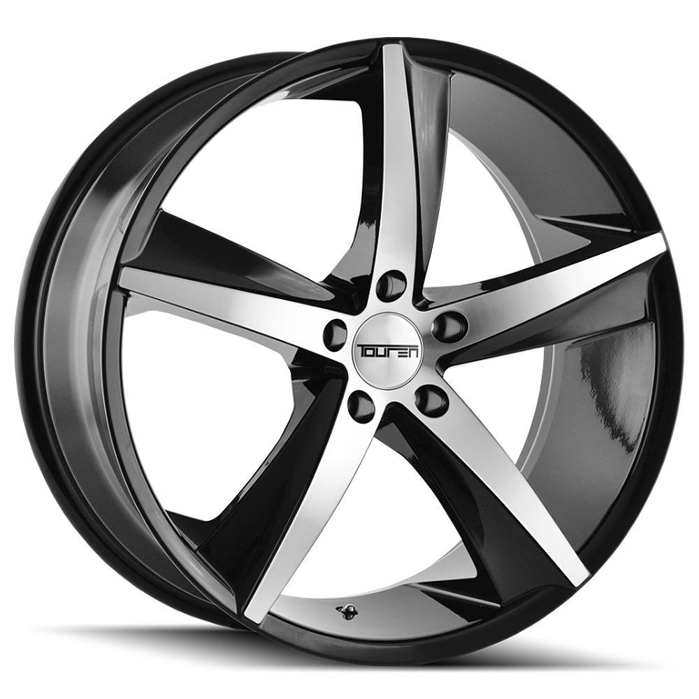 """Touren TR72 20x8.5 5x112 +30mm Black/Machined Wheel Rim 20"""" Inch"""
